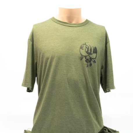 T-Shirt Military Green GTI Skull Broadaxe Front