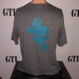 Womens Tee Blue Rose and Skull Back