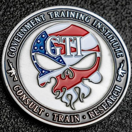 Challenge Coin GTI American Flag Skull and CBRNE Joint Operations Center