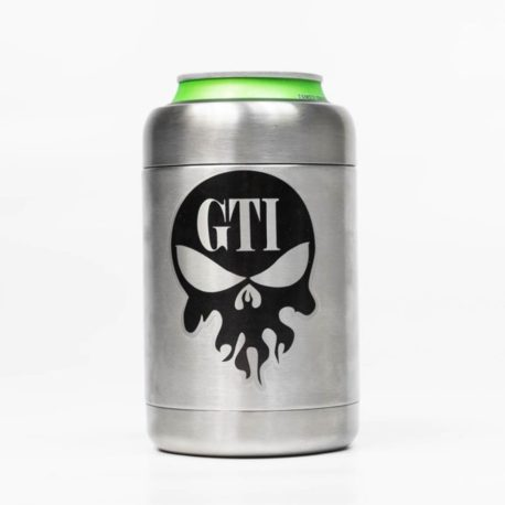 Koozie Stainless Steel Black Logo Front With Can