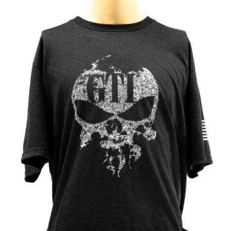 T Shirt Black GTI Skull Flag Front