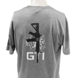T Shirt Gray GTI Skull GTI Rifle Blue Line Flag Back