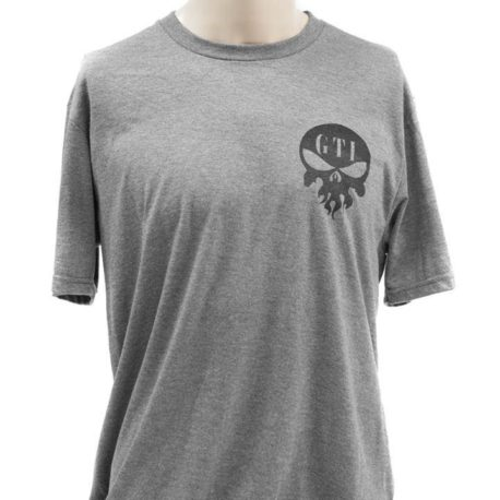 T Shirt Gray GTI Skull GTI Rifle Blue Line Flag Front