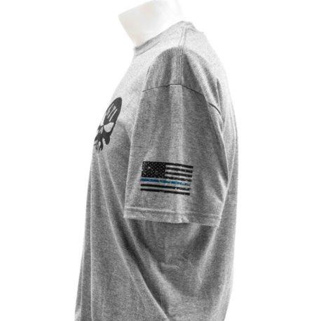 T Shirt Gray GTI Skull GTI Rifle Blue Line Flag Sleeve